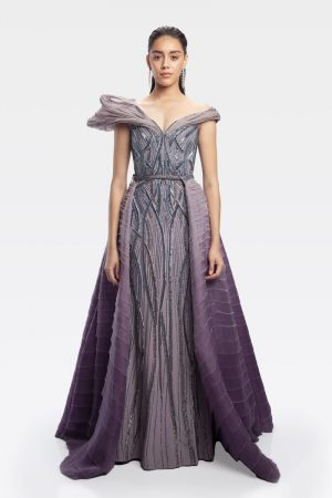 Soft Violet Sculpted Linear Glass Gown