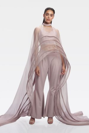Sand Pink Structure Fluid Long Cape Pantsuit
