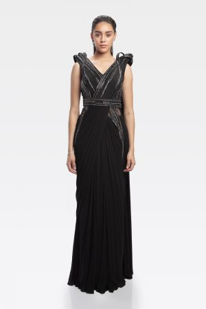 Black Armoured Saree Gown