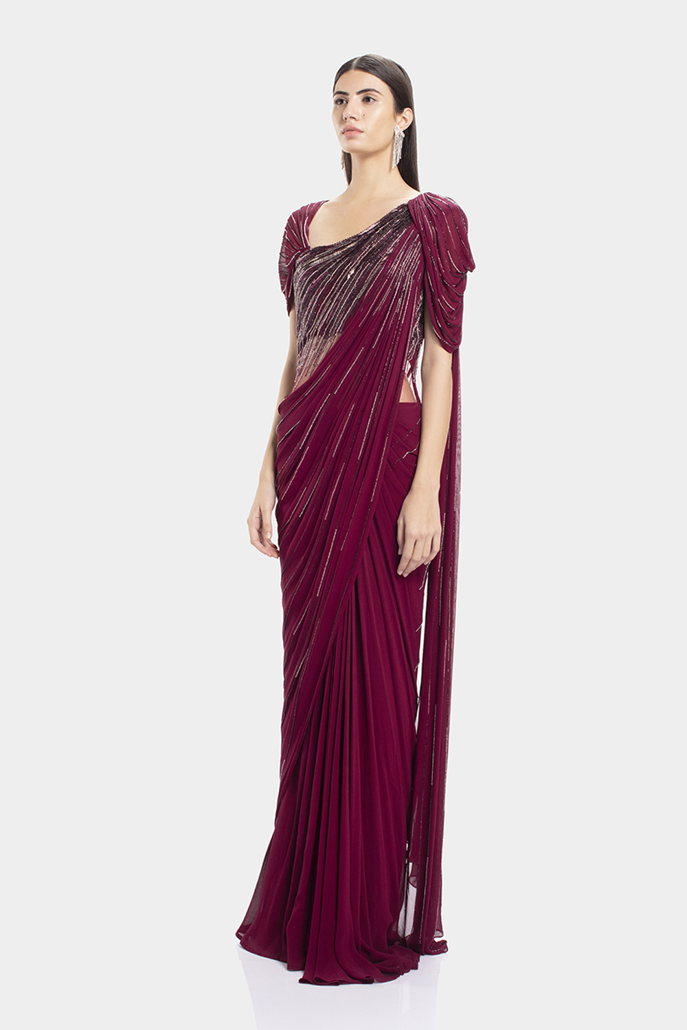 Berry Draped Embellished Saree Gown Gaurav Gupta Studio
