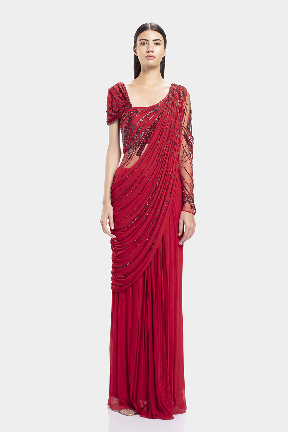 Lava Red Draped Iridescent Saree Gown Gaurav Gupta Studio