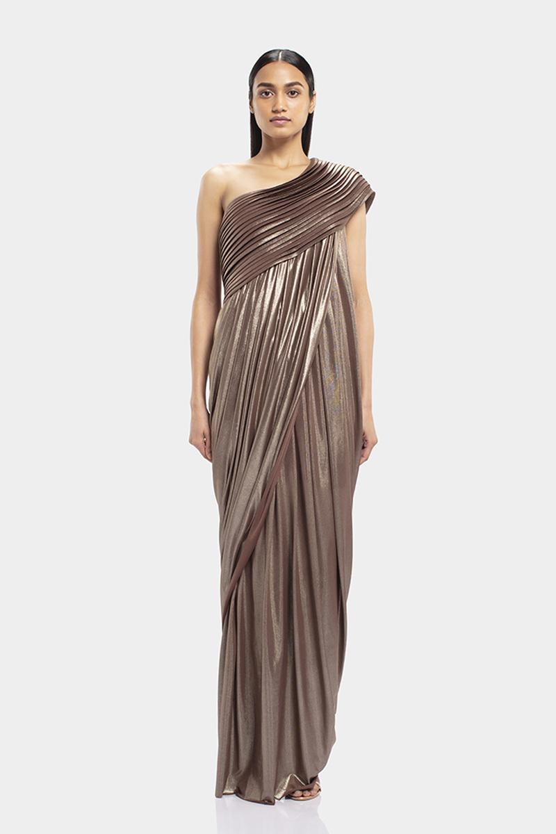 Copper Shimmer One Shoulder Draped Gown Gaurav Gupta Studio